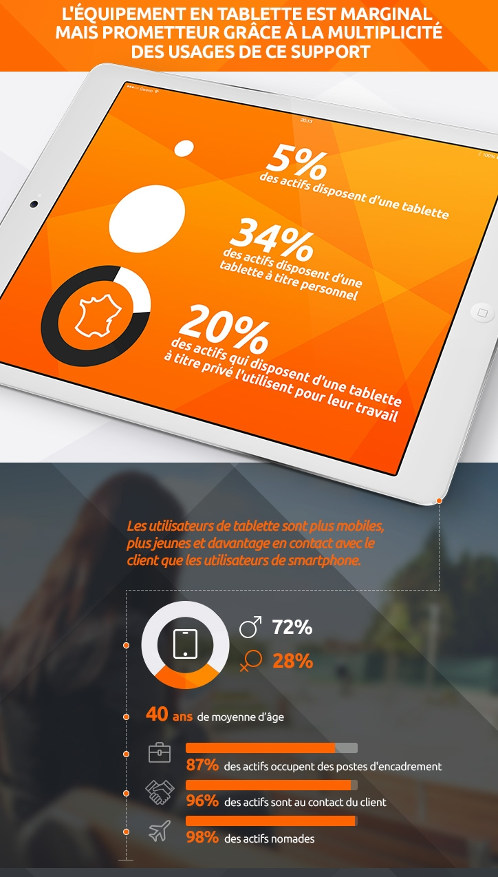 Graphique utilisation tablette professionnelle en france